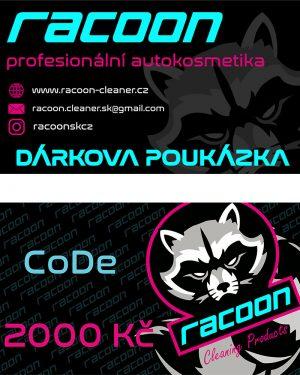 dárková poukázka Racoon Cleaning Products v hodnotě 2000 Kč