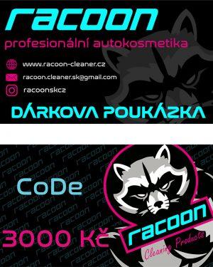 dárková poukázka Racoon Cleaning Products v hodnotě 3000 Kč