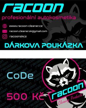 dárková poukázka Racoon Cleaning Products v hodnotě 500 Kč