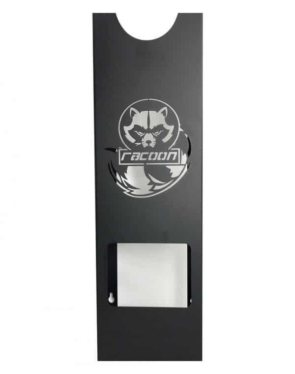 plechový držák černé barvy s vypáleným logem Racoon Cleaning products na jednu leštičku