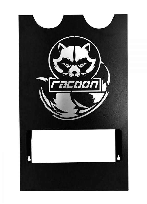 plechový držák černé barvy s vypáleným logem Racoon Cleaning products na dvě leštičky