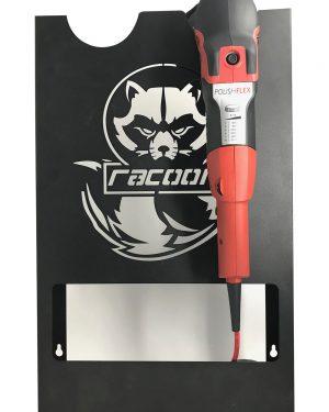 plechový držák černé barvy s vypáleným logem Racoon Cleaning products na dvě leštičky a leštiška Flex