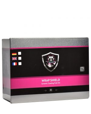 Plechová krabička obsahující set keramické ochrany na fólie s etiketou a logem autokosmetiky Racoon Cleaning Products