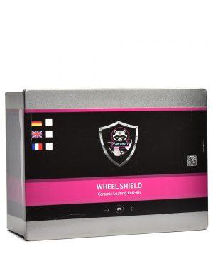 Plechová krabička obsahující set keramické ochrany na kola s etiketou a logem autokosmetiky Racoon Cleaning Products