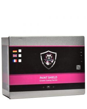 Plechová krabička obsahující set keramické ochrany na lak auta s etiketou a logem autokosmetiky Racoon Cleaning Products