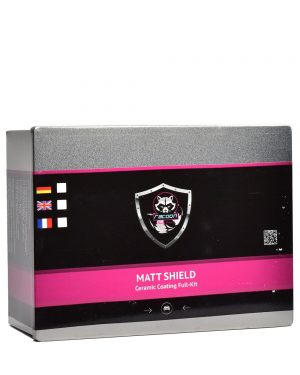 Plechová krabička obsahující set keramické ochrany matných laků s etiketou a logem autokosmetiky Racoon Cleaning Products