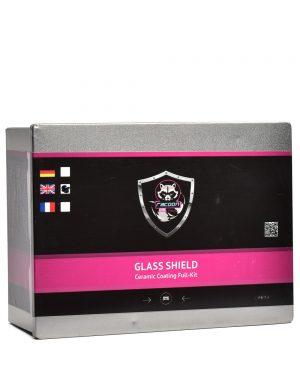 Plechová krabička obsahující set keramické ochrany na sklo s etiketou a logem autokosmetiky Racoon Cleaning Products
