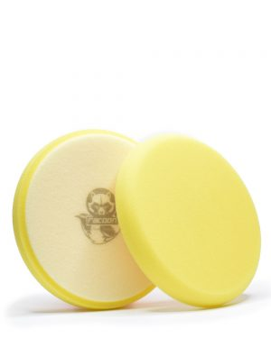 dva žluté měkké pěnové leštící kotouče s logem autokosmetiky Racoon Cleaning Products