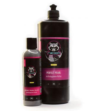 Lešticí pasta jemna Perfect pearl polish ve dvou lahvích různé velikosti s logem autokosmetiky Racoon Cleaning Products