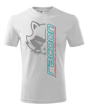 bílé tričko s logem Racoon a vertikálním nápisem