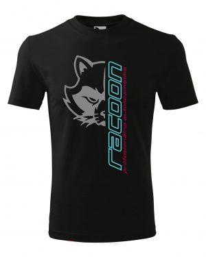 černé tričko s logem Racoon a vertikálním nápisem
