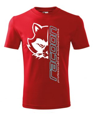 červené tričko s logem Racoon a vertikálním nápisem