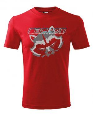 červené tričko s logem Racoon a horizontálním nápisem