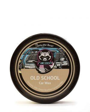Kulatá černá tuba obsahující tuhý tvrdý autovosk na lak automobilu old school, obsahující 50% pravého karnaubského vosku nejvyšší kvality T1 s logem autokosmetiky Racoon Cleaning Products