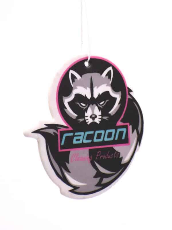 Závěsný vůně ve tvaru a barvách loga Racoon Cleaning Products