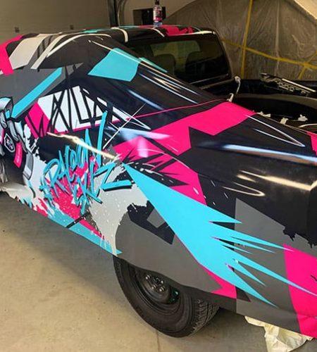 lepení automobilu ford Ranger do polepu autokosmetiky Racoon Cleaning Products